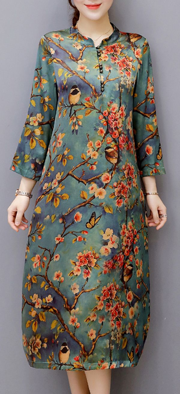 Us vintage women long sleeve oneck print dresses vestidos