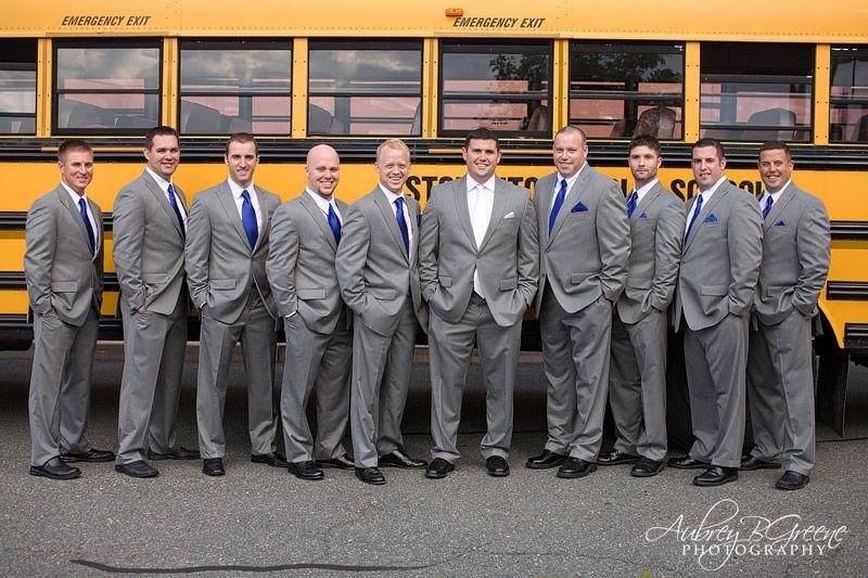 Grey suit, royal blue tie, groomsmen, white tie, school bus, Blue ...