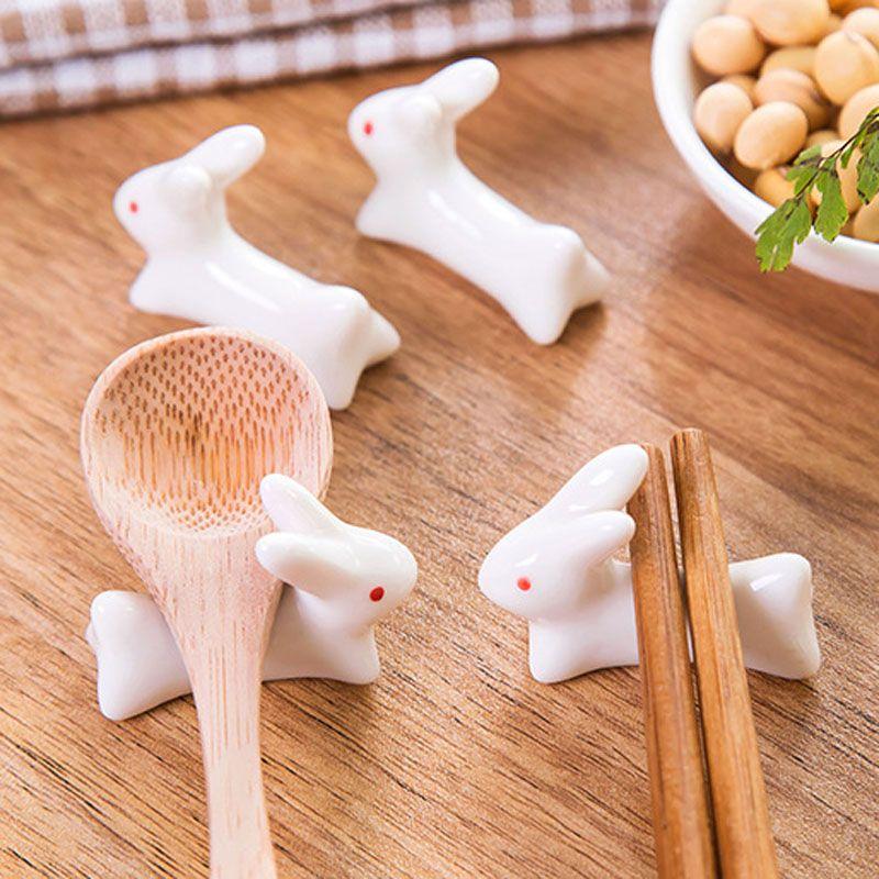 Ceramic Korean Rabbi Chopsticks Holder Korea Animal Chopstick Rest Holder Creative Kitchen Cutlery Sets Japanese C Chopstick Rest Chopstick Holder Ceramic Ware