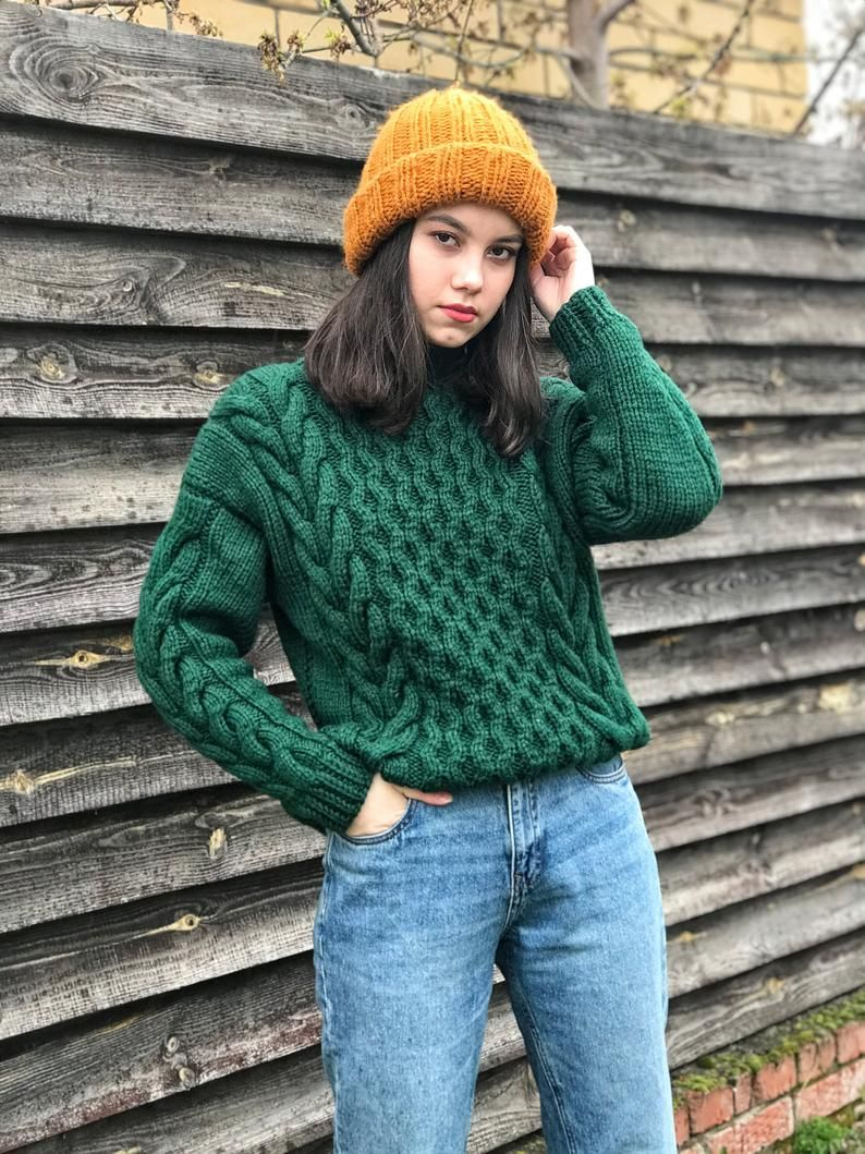 Green sweater military style - chunky knit jumper oversized for styled girls