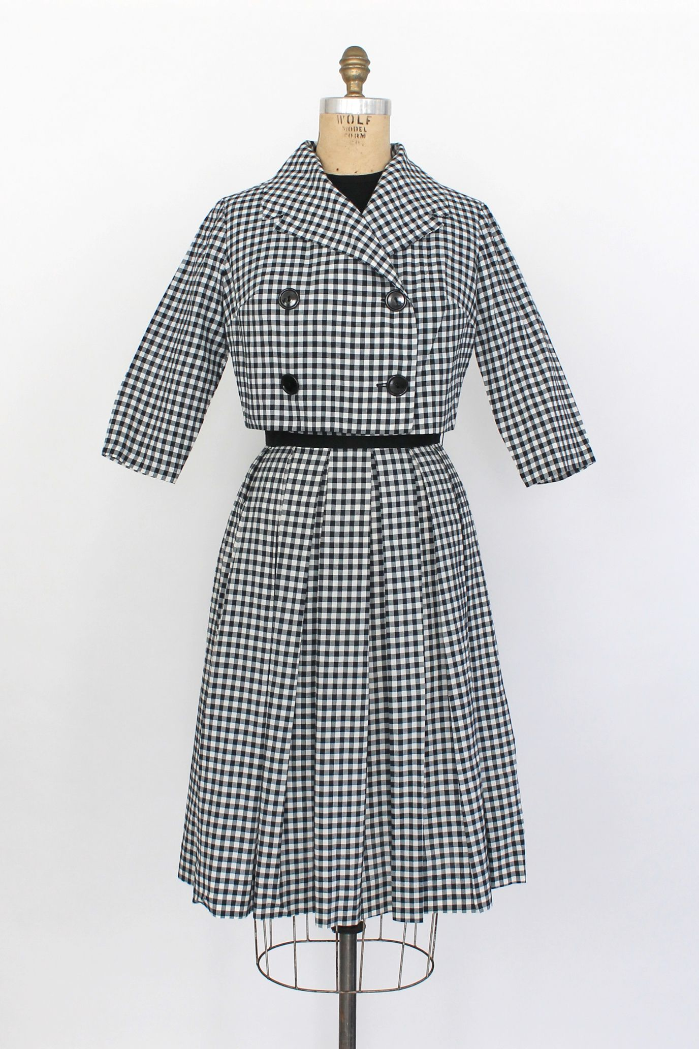 7de4b844c98e Black Vintage amp  Set Jacket 1950s 50s Check And Gingham White Dress  BFq6gHF