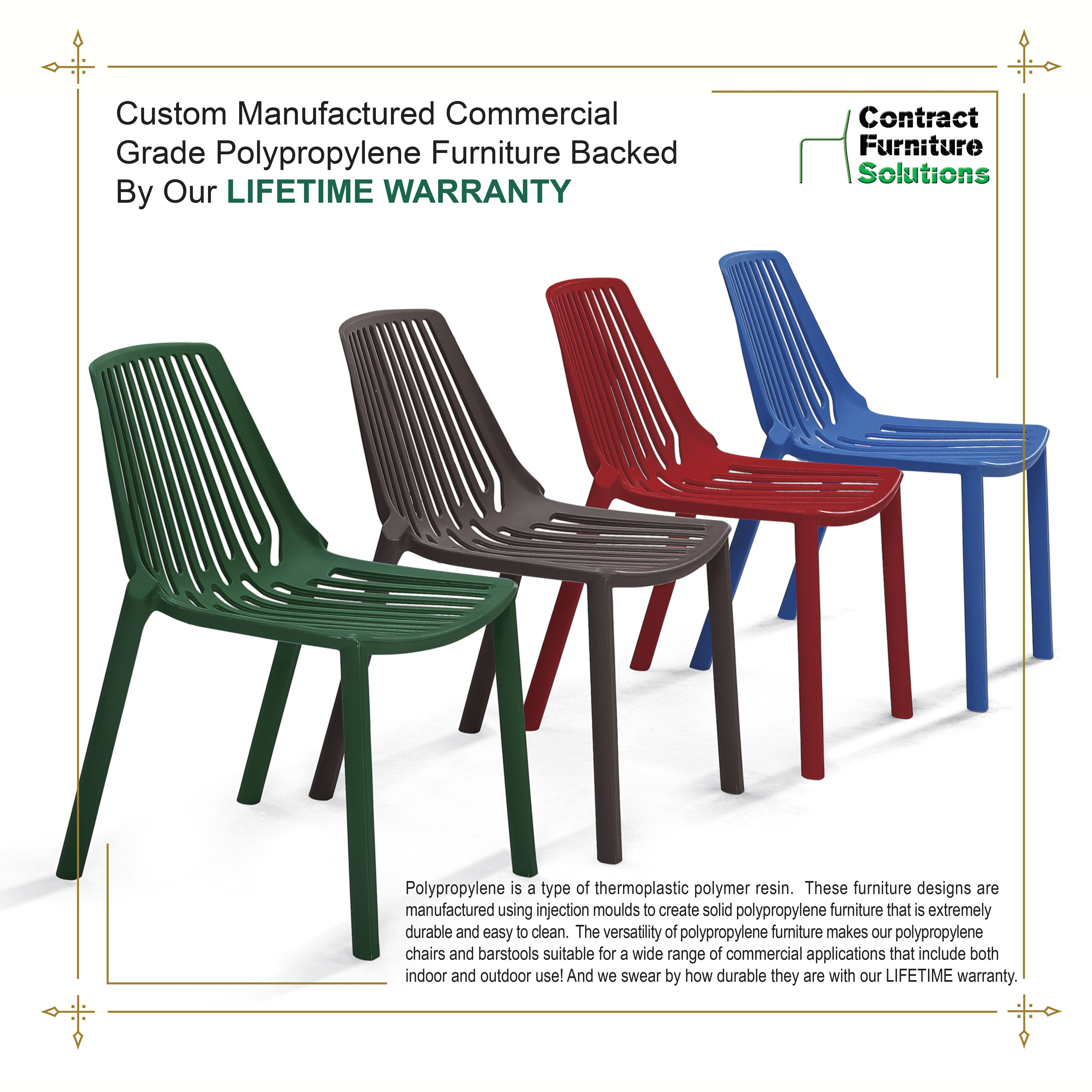 Contract furniture solutions is your number one source for polypropylene seating chairs and barstools these furniture designs are manufactured using