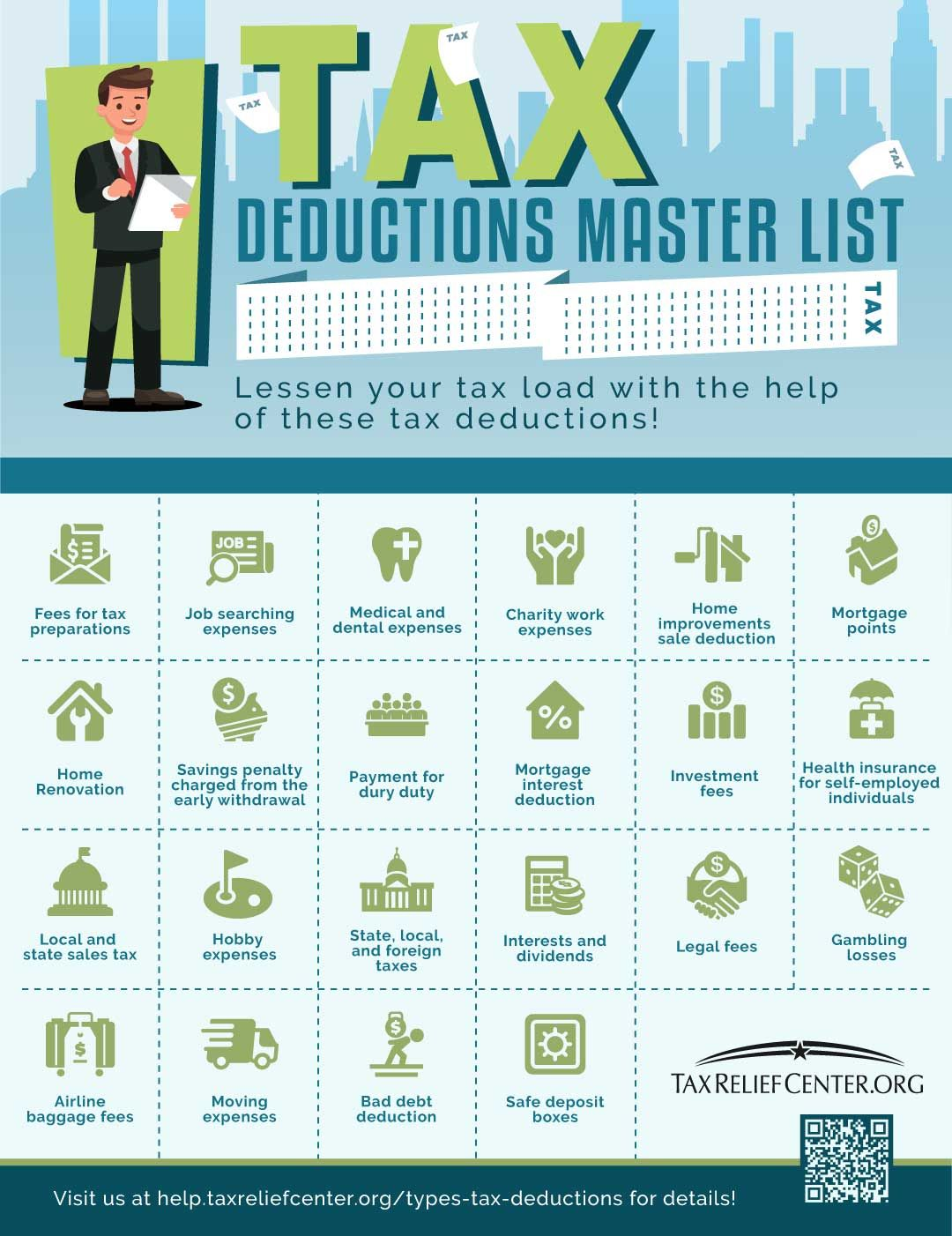 The Master List Of All Types Of Tax Deductions Infographic
