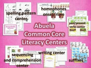 6 Common Core Literacy Centers to supplement Abuela (Harcourt Trophies 2nd Grade).