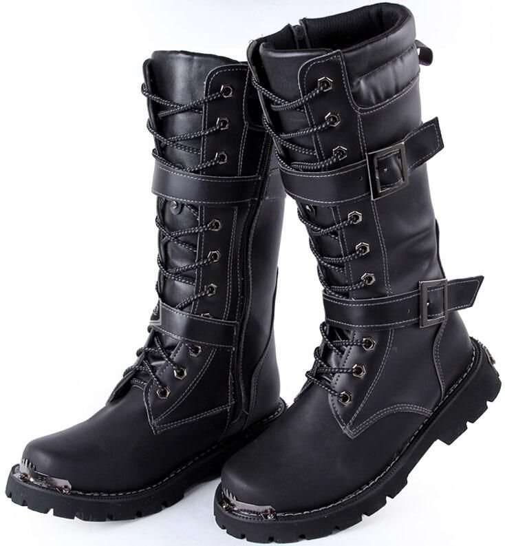 New Arrival Men's Knee-High Boots,Black Buckles Lace-Up Leather ...