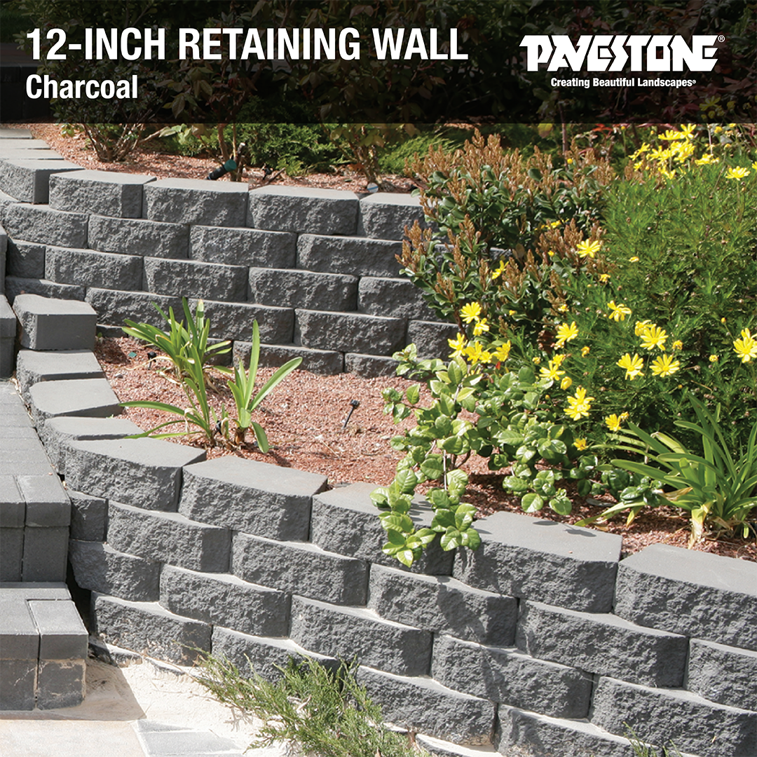 Pavestone S 12inch Retaining Wall Is Made Of Durable Dry Cast Concrete For A Strong And Lo Front Yard Landscaping Design Garden Wall Block Stone Retaining Wall