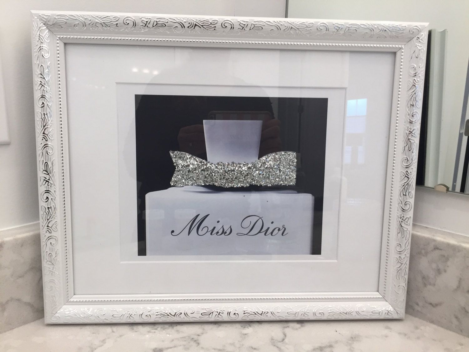 Glitter wall decor image collections home wall decoration ideas large miss dior black and white ornate framed silver glitter wall large miss dior black and amipublicfo Images