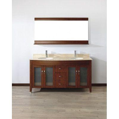 "Bauhaus Bath Alfa 63"" Double Bathroom Vanity Set with Mirror Base Finish: Ceries Classique, Top Finish: Gala Beige"