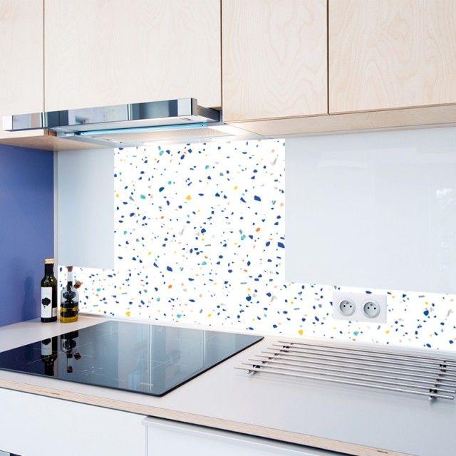 cr dence cuisine fond de hotte adh sive alu verre sur. Black Bedroom Furniture Sets. Home Design Ideas