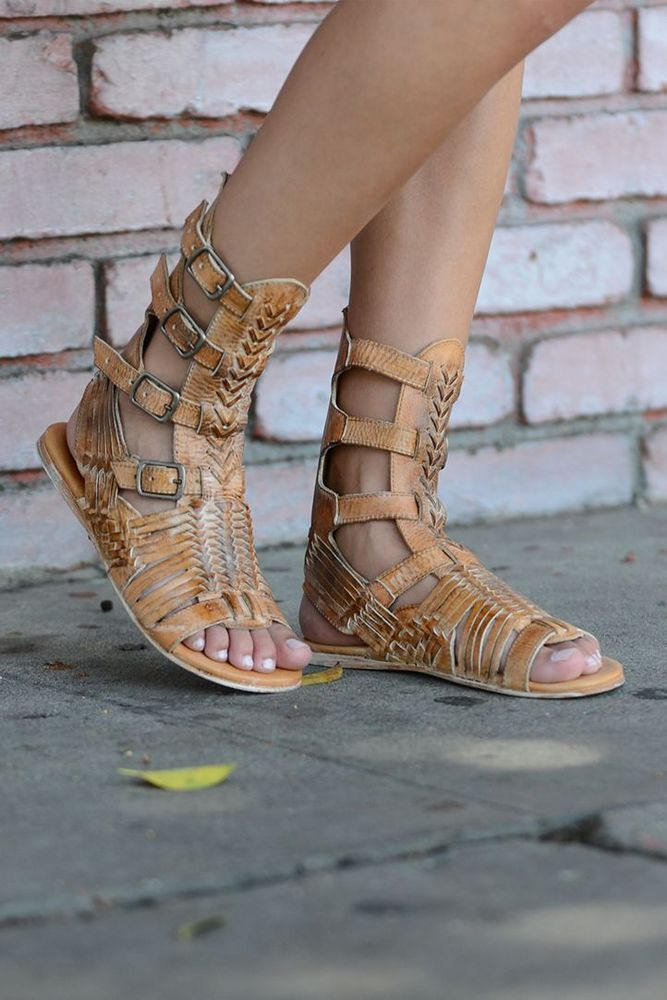 0eb93f61ab761 Bed Stu Tan Leather Aurelia Woven Strappy Gladiator Sandals Size 7 ...