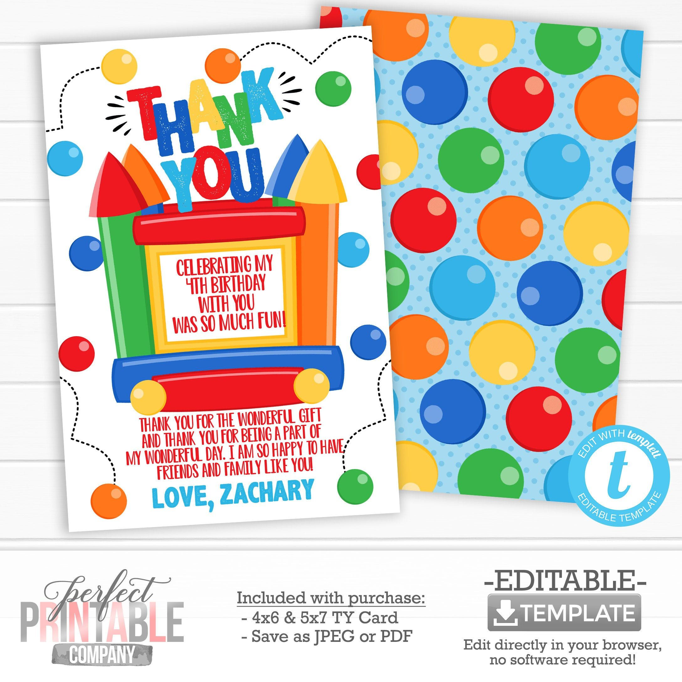 Bounce House Thank You Card Bounce House Thank You Note Bounce House Birthday Party T Print Thank You Cards Bounce House Birthday Party Bounce House Birthday