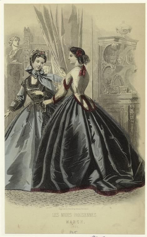 Les Modes Parisiennes. March 1865, Petersons Magazine. NYPL Digital Gallery.