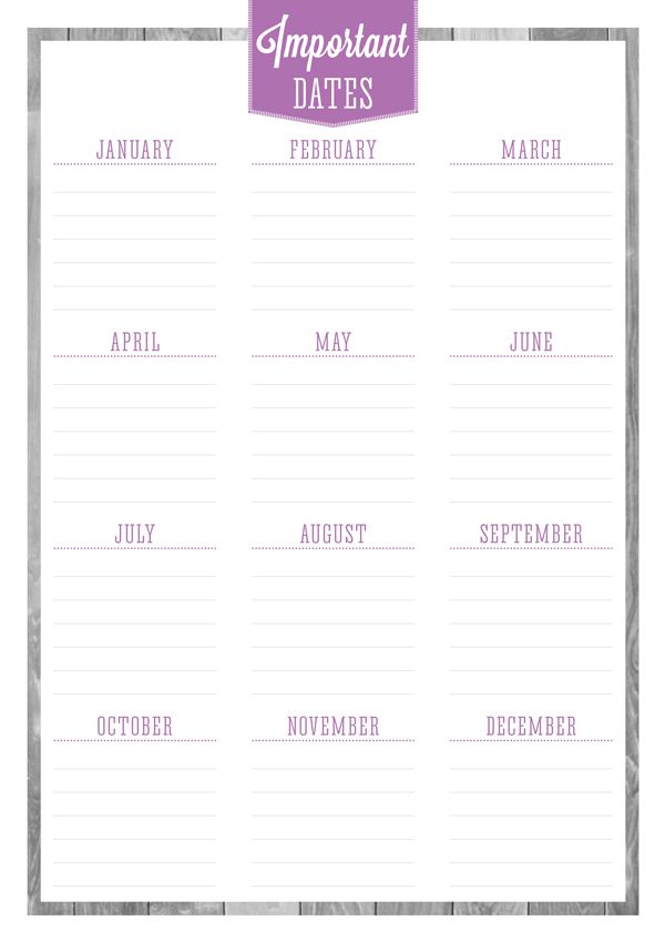 Free Printable Birthdays  Important Dates Planner  With This