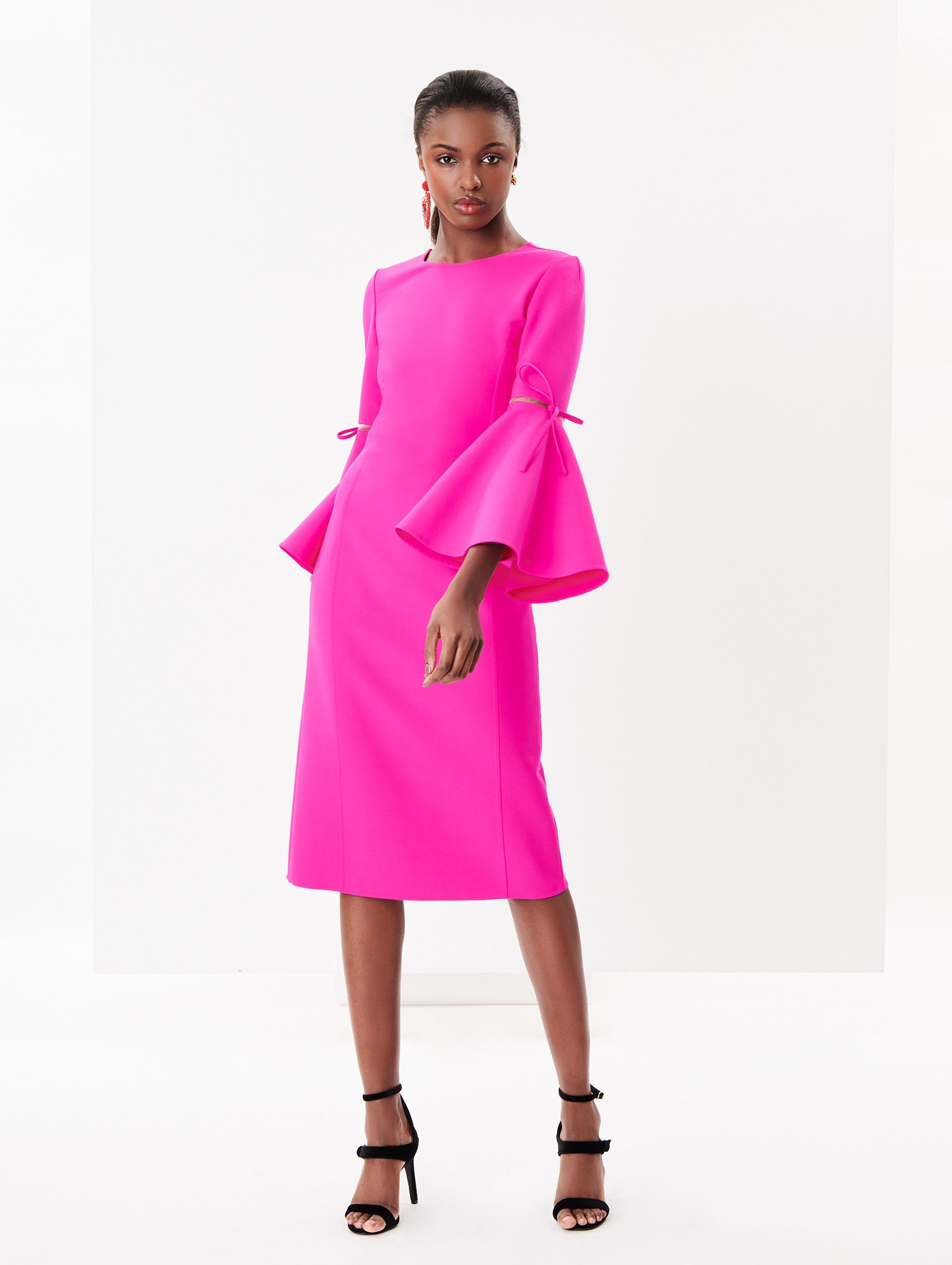 64d00648196 Oscar de la Renta - Shocking Pink Flutter-Sleeve Double-Face Stretch-Wool  Pencil Dress