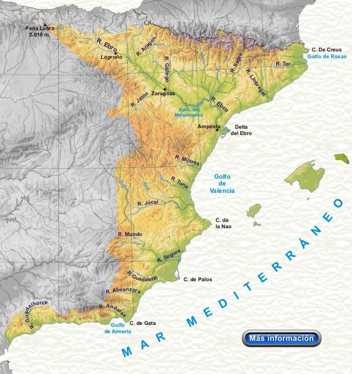 Vertientes Mapa Hidrografico De España.Rios De La Vertiente Mediterranea Rios De Espana
