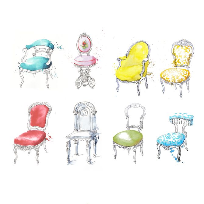 French Chairs Georgina Luck 0 Illustration Chair