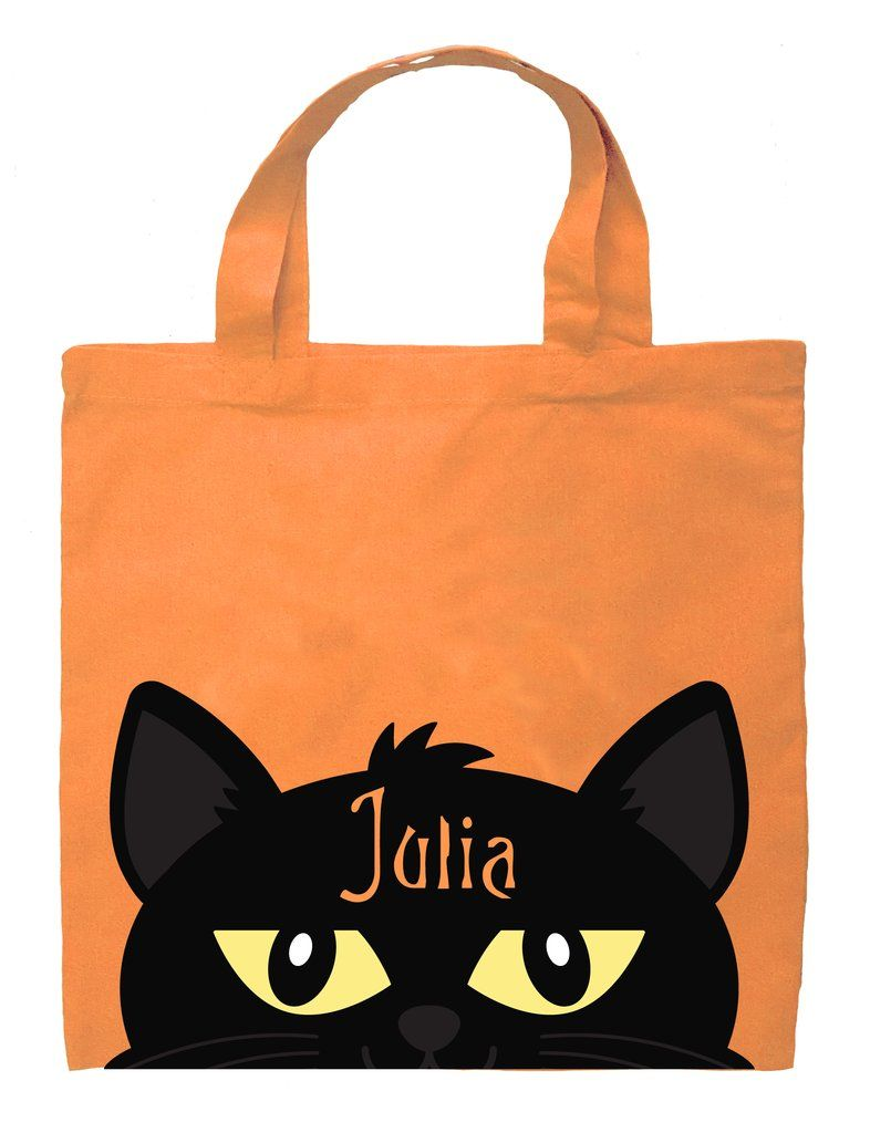 Halloween Trick Or Treat Bags Personalized.Cat Trick Or Treat Bag Personalized Cat Girl Halloween Bag