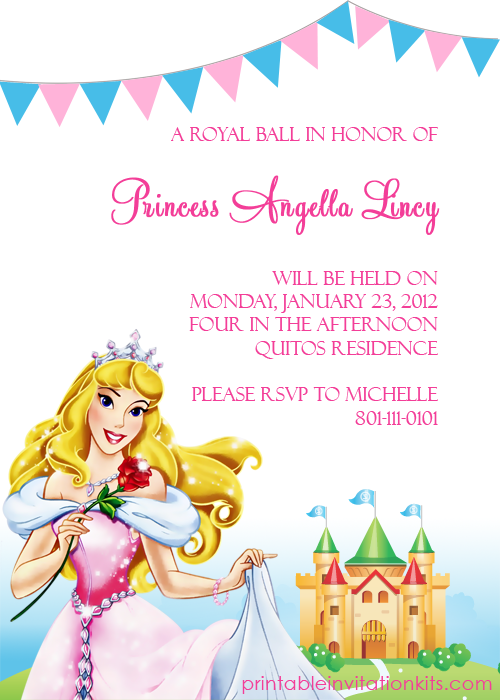 Disney Princess Aurora Sleeping Beauty Invitation Birthday