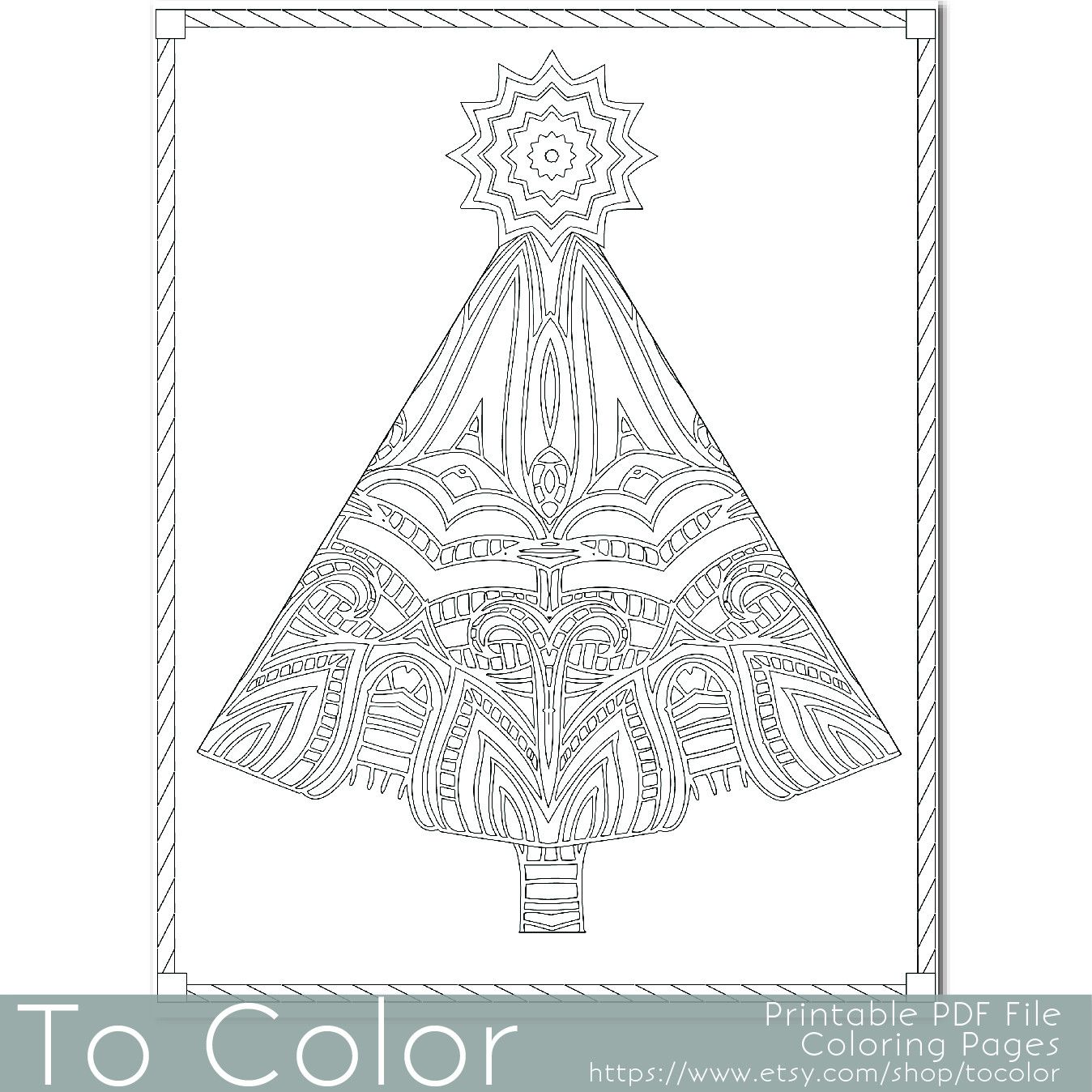 This Christmas tree coloring page for adults has a ...
