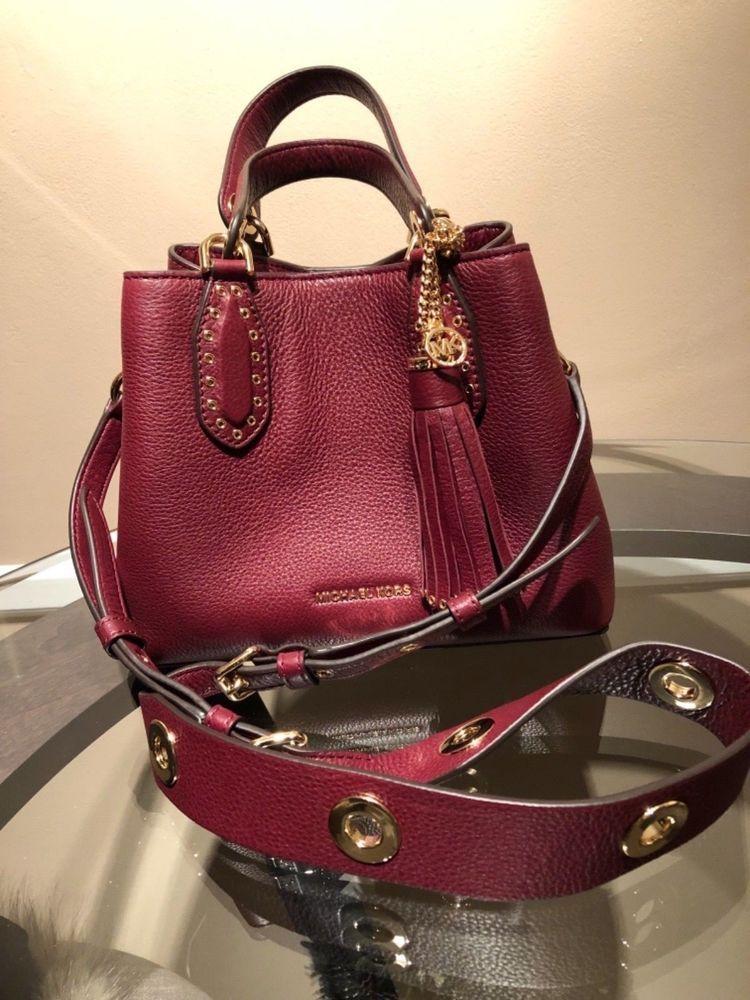 5c01bbb9d786 Michael Kors Brooklyn small pebble leather satchel in Oxblood ...