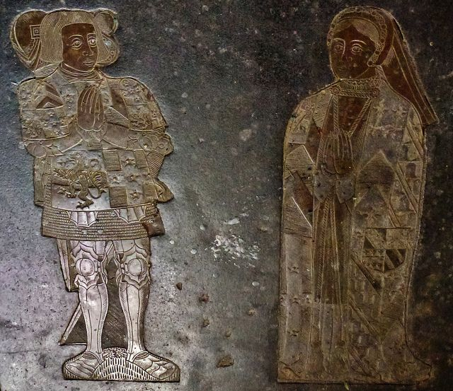 brasses of sir ralph verney +1546 and family, on a tomb chest brought from ashridge