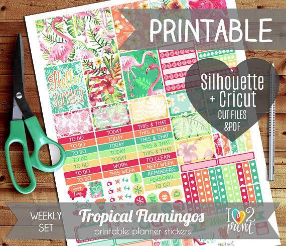 df517abb5cd54 Tropical Flamingos Weekly Printable Planner Stickers, EC Planner ...