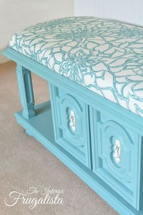 From 70 S Coffee Table To Upholstered Bench Chalk Paint Painted