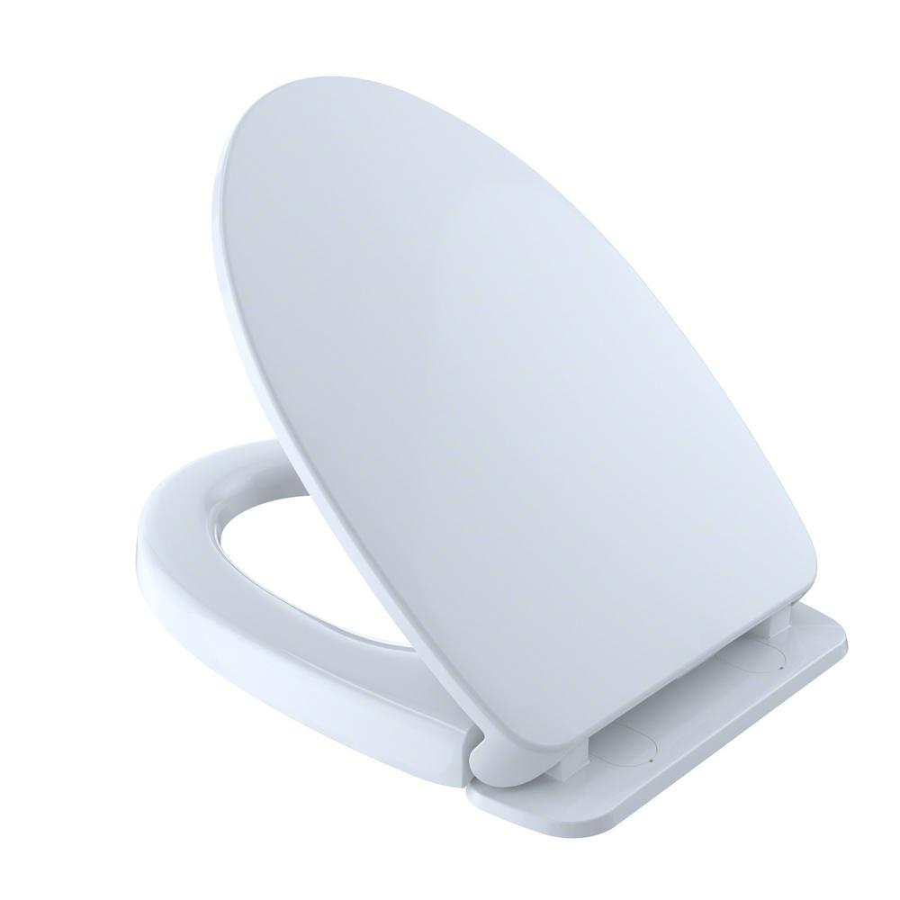 Toto Softclose Elongated Closed Front Toilet Seat In Cotton White Ss124 01 The Home Depot Elongated Toilet Seat Toilet Seat Washlet Toto soft close elongated toilet seat