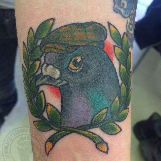 Tattoo by @caudilltattoo @northernsoultattoo #pigeon #pigeontattoo #northernoi #oi #flatcap #northern #northernsoul #tattoo #traditionaltattoo #oldschool