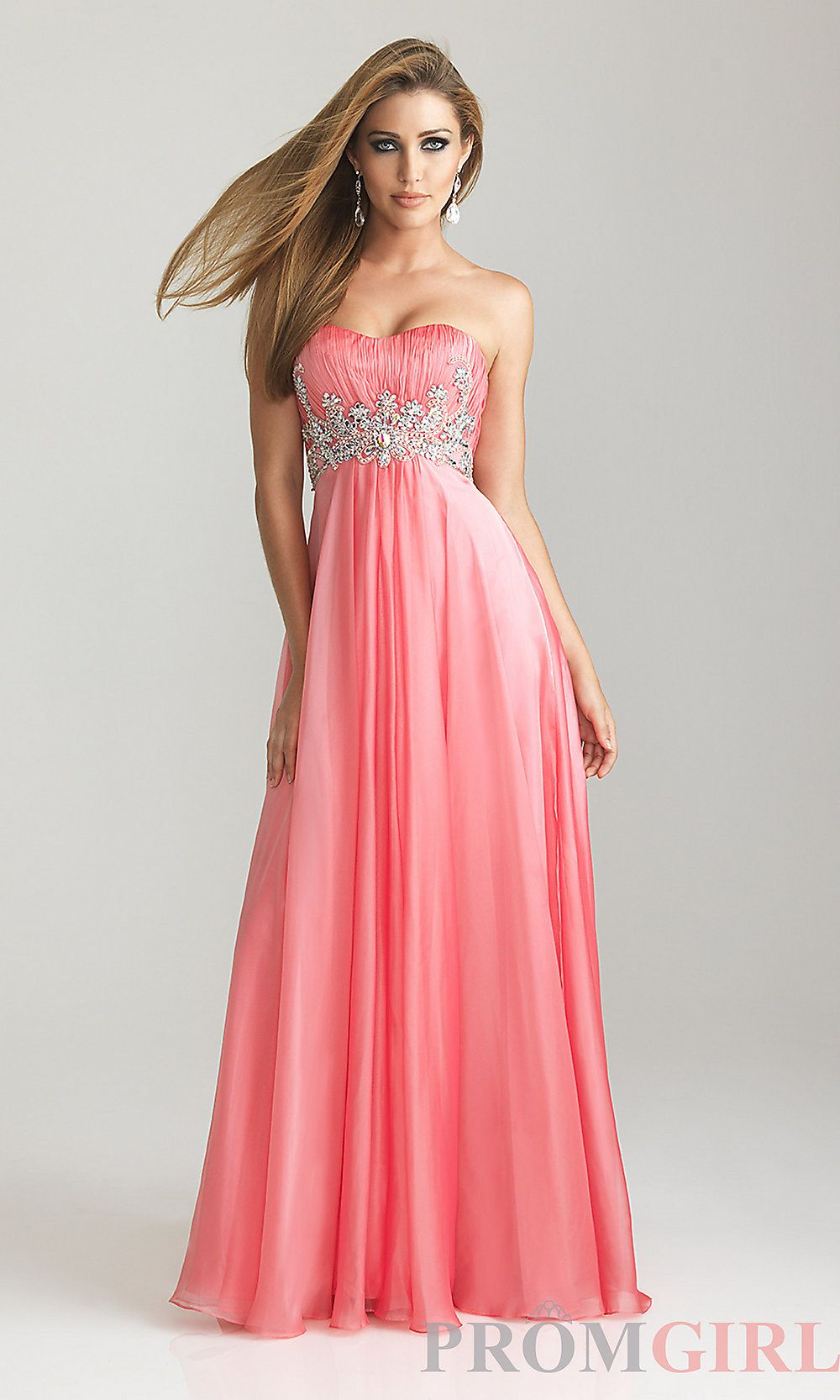 Long strapless prom dresses night moves prom gowns promgirl