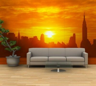 Sunset Wall Mural Painting | park home | Pinterest | Wall mural ...
