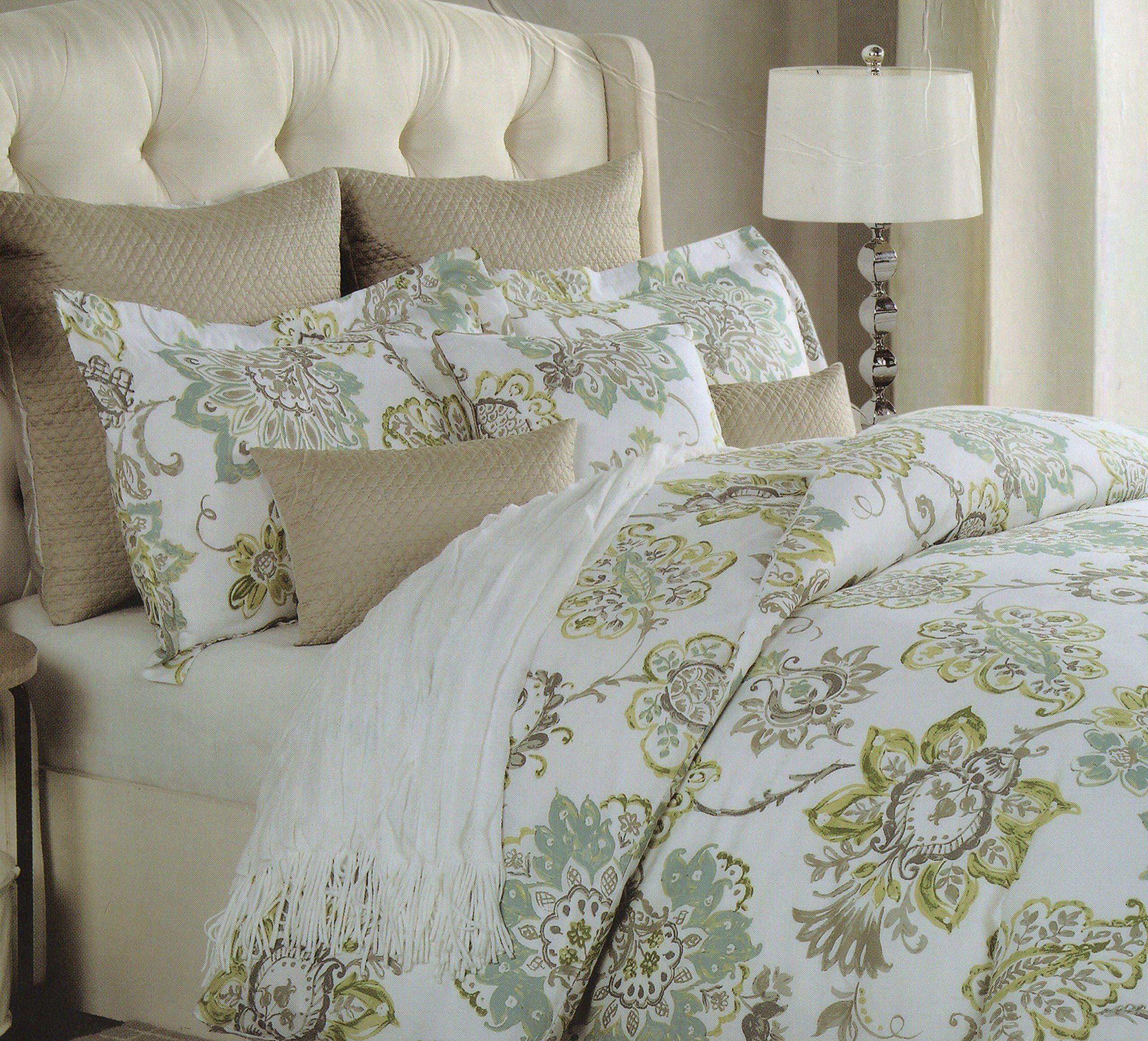 Cynthia Rowley 3pc Duvet Cover Set Large Floral Jacobean