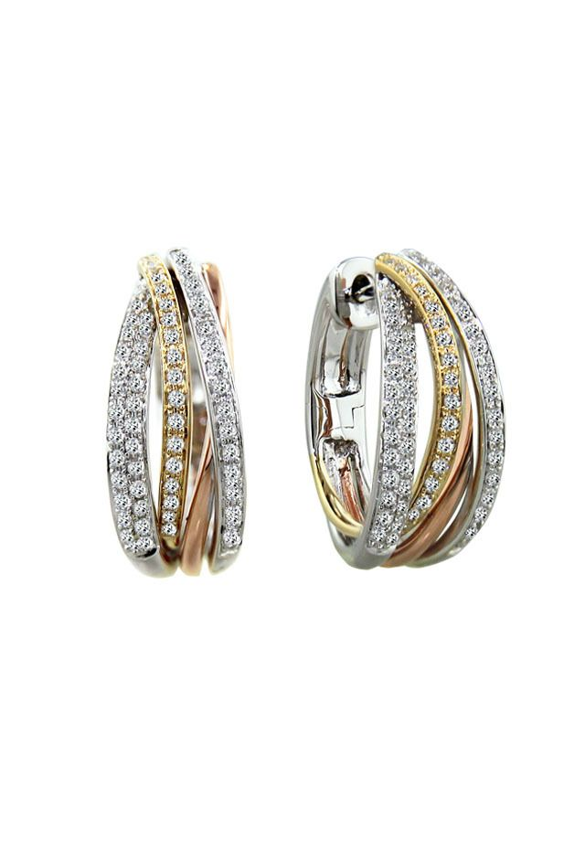 Be Still My Heart Tricolor Gold and Diamond Hoops