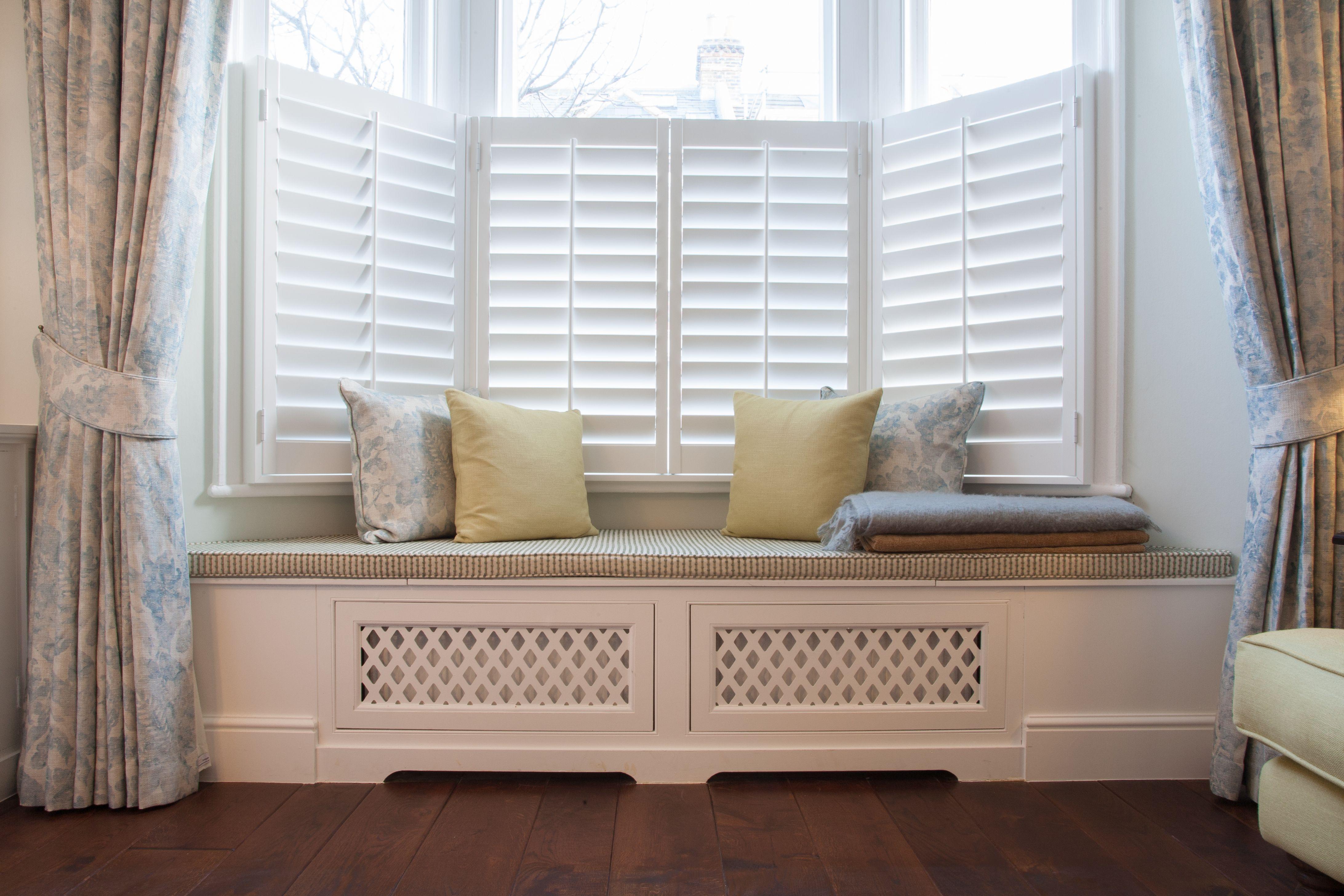 Bespoke window seat with fabrics by Kravet