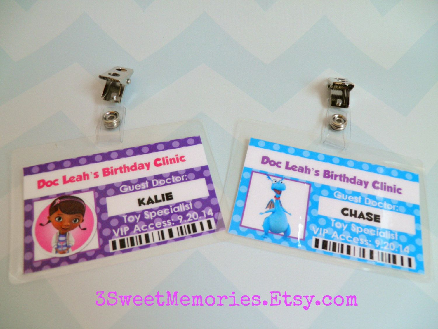 Doc Mcstuffins Id Badges Party Favors 14 00 Usd By 3sweetmemories