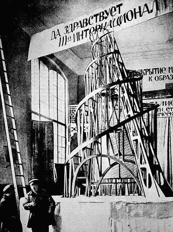 Monumento a la Tercera Internacional: La Torre Tatlin en un modelo de 1919. Foto: Vladimir Tatlin