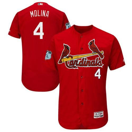 Men's St. Louis Cardinals #4 Yadier Molina Red 2017 Spring Training Stitched MLB Majestic Cool Base Jersey