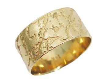 Yellow gold wedding band 14K wavy wedding ring Matte wedding band Curvy wedding ring Wide wedding ring wedding ring.real gold band