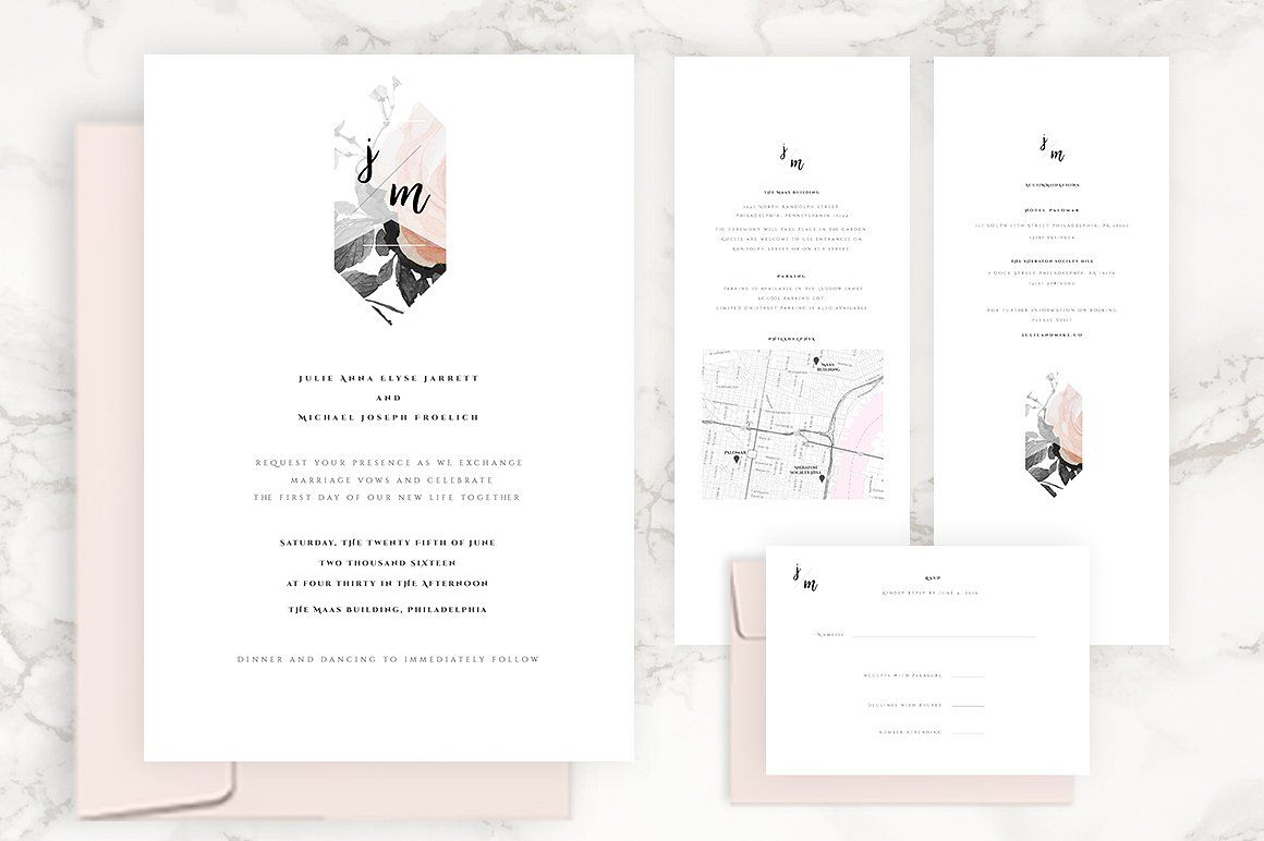 Modern Floral Wedding Invitation Kit Modern Floral Wedding Invitations Wedding Invitation Kits Floral Wedding Invitations