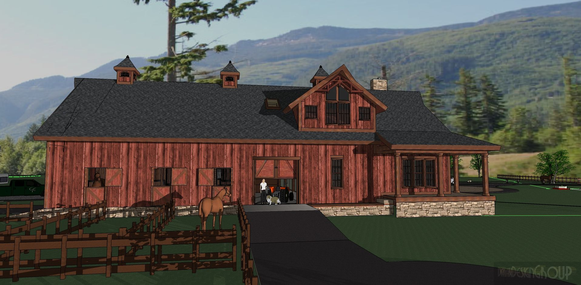 Horse barns with living quarters barn designs with for Barns with living quarters above