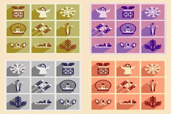 Set of icons New Year and Christmas. Christmas Icons. $5.00
