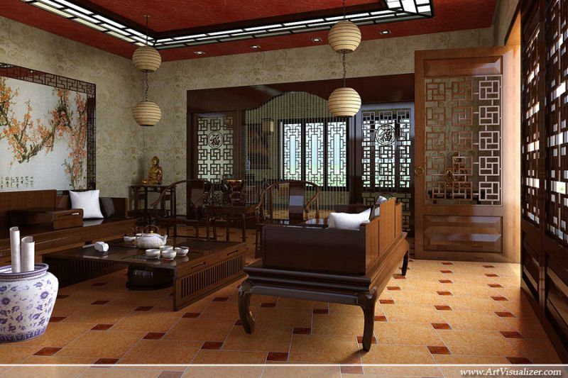 11 inspiring asian living rooms chinese interior for Traditional interior design