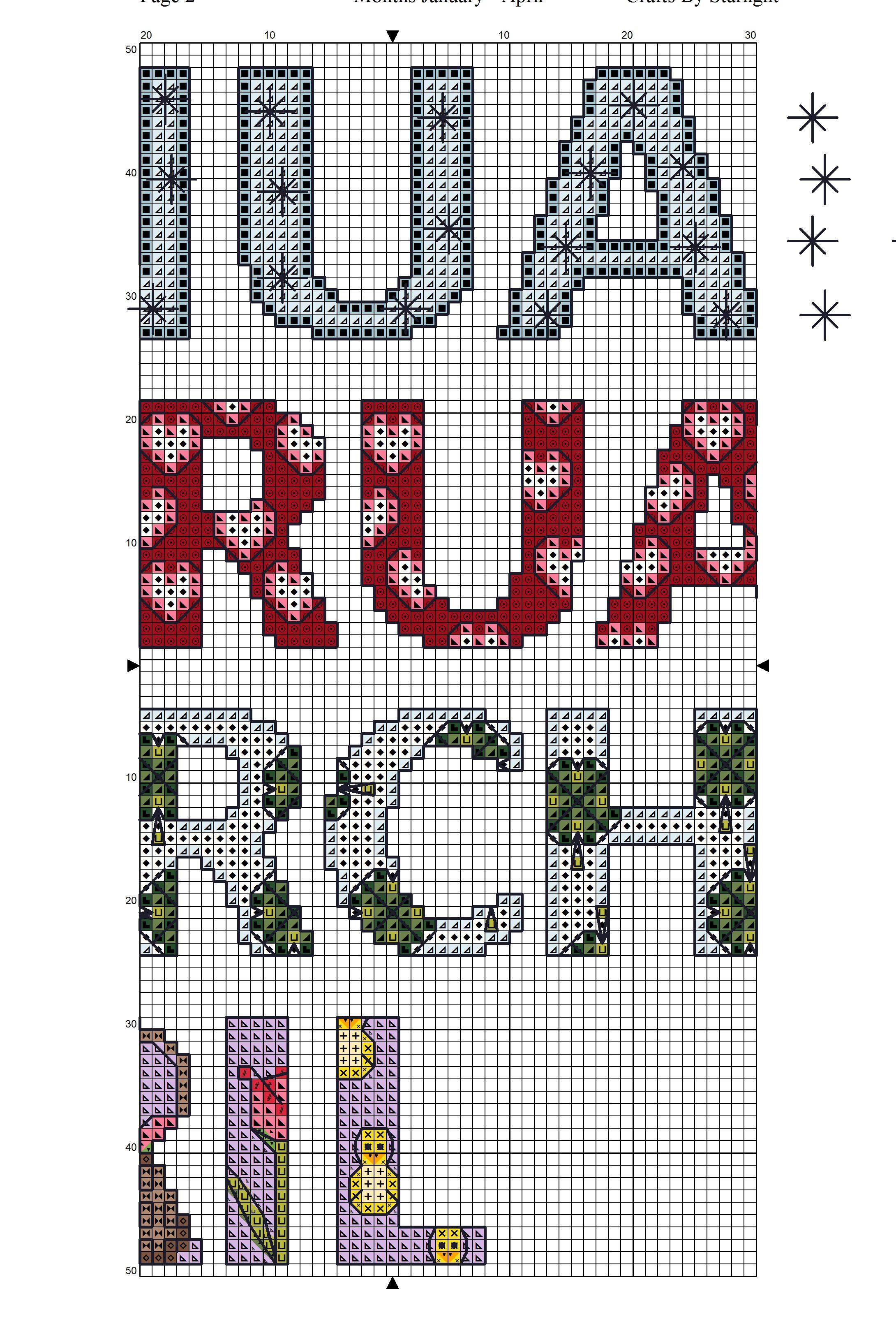 Months January to April - Free Cross Stitch Pattern! | Crafty Stuff ...