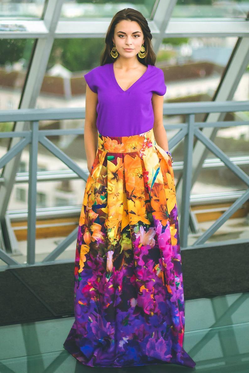 d583cf3d04 Plus Size Maxi Skirt, Floral Long Skirt, Evening Dress, Maxi Skirt ...