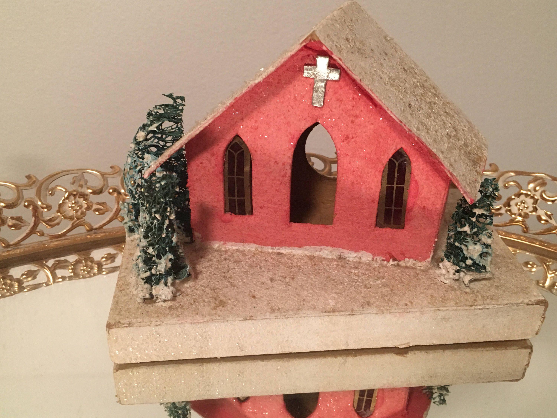 Vintage Putz House Church Red/Pink Christmas Cardboard ...