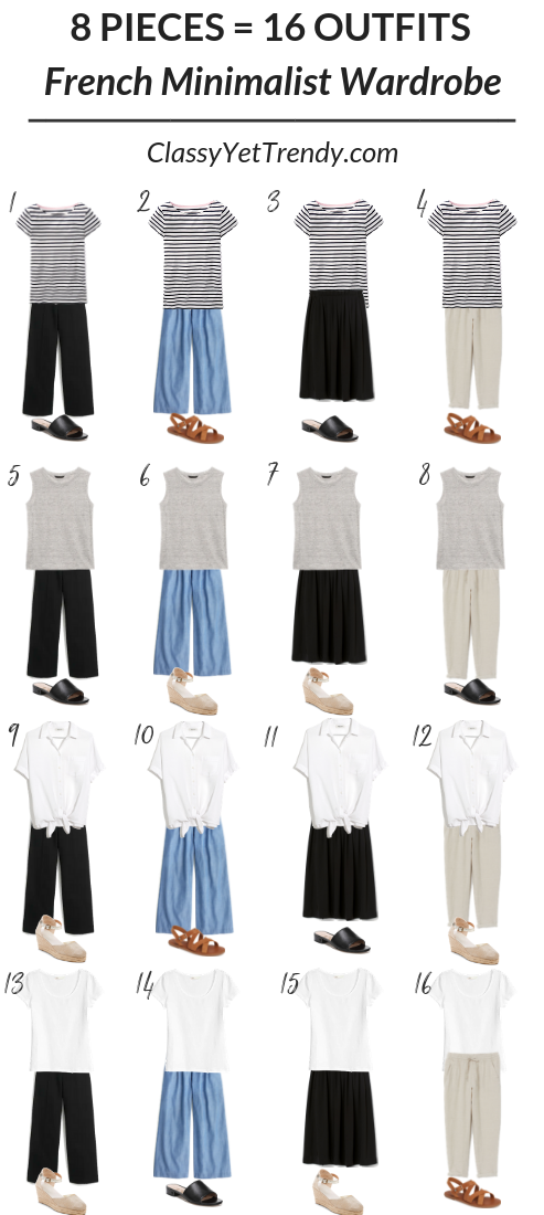 8 Pieces 16 Outfits French Minimalist Carry On Travel Capsule Wardrobe Classy Yet Trendy Summer Capsule Wardrobe Classy Yet Trendy Capsule Outfits