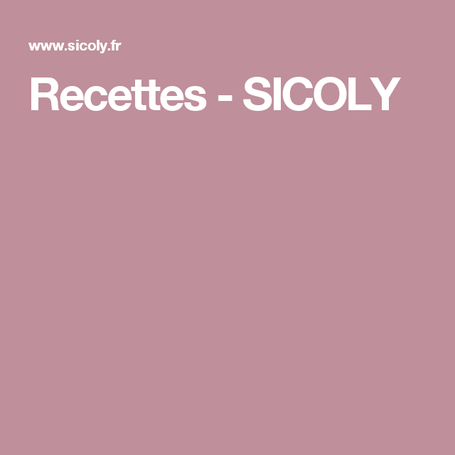 Recettes - SICOLY