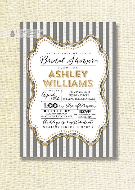 Gray & White Bridal Shower Invitation Gold Glitter Stripe Art Deco Wedding Gatsby Modern FREE PRIORITY SHIPPING or DiY Printable - Ashley Style by digibuddhaPaperie Available at digibuddha.com