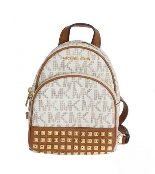 d3b555ace0c Luxury Brand Fashion. MICHAEL KORS WHITE ABBEY LEATHER XS BACKPACK ...