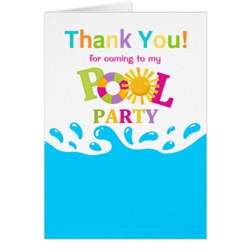 Pool Water Splash water splash pool party girl thank you card